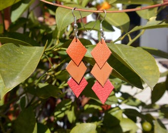 "Orange, camel leather and coral ""Tisya"" earrings"