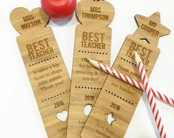 Best Teacher Personalised Bamboo Bookmark - single (3 designs)