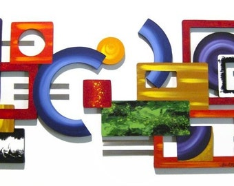 Geometrics Defined handcrafted Wood and Metal Wall Sculpture - Contemporary, Modern, Abstract , Unique and Custom wall decor 51x22 by DAS