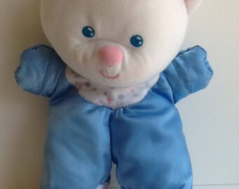 Vintage Fisher Price #1388 Blue SATIN BEAR Lovey