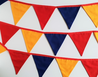 Circus Fabric Bunting Banner Flags for Circus Party, Bunting Flags, Red Yellow and Blue Fabric Garland 18 flags 3.3m/10.8ft