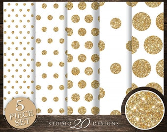 50% OFF! Instant Download White Gold Digital Paper, 12x12 Printable Gold Glitter Digital Paper, White Gold Polka Dot Background 20DPC