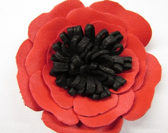 Red poppy leather flower corsage, red & black leather flower, brooch pin, corsage, poppy hair clip, red flower shoe clips, red flower Ruby62