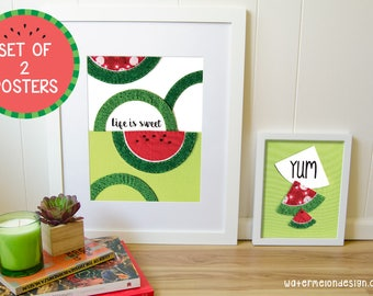 SET OF 2 Posters Watermelon 11x14 and 8x10 inches