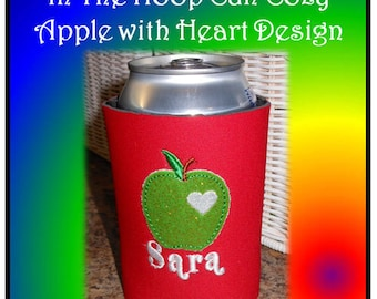 In The Hoop Can Cozy Apple With Heart Embroidery Machine Design