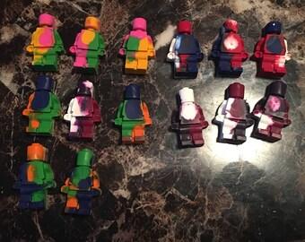 Multicolor block men crayons