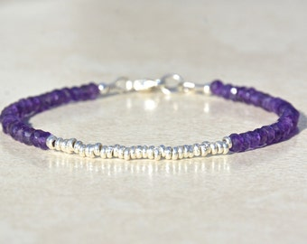 Amethyst Birthstone Bracelet, Amethyst Bracelet, February Birthstone, Hill Tribe Silver, Beaded Gemstone Bracelet, Christmas Gift for Her