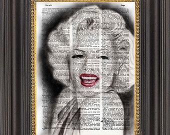 Marilyn Monroe Print, Marilyn Monroe Dictionary Print, Marilyn Vintage Dictionary, Dictionary Art Print, Marilyn Wall Decor
