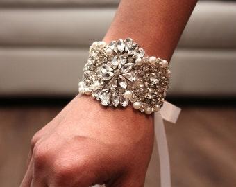 Rhinestone Bracelet, Bridal Bracelet, Bridal Jewelry, Bridal crystal bracelet, Bridal Accessories, Prom Bracelet, Bridesmaids bracelet