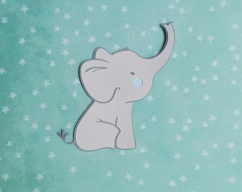 Set of 10 Light Grey Baby Elephant Die Cut Set-DIY Project-Centerpieces-Gift Tag-Mason Jar Decoration-Frame Art-Baby Shower-Birthday