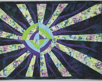 Art Quilt Sun Wonky Blue Purple, Wall Quilt, Quilted Wall Hanging