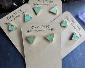 Turquoise Earrings,Turquoise Earrings Gold,Turquoise Stud Earrings,Turquoise Studs,Turquoise Post Earrings,Turquoise Jewelry,Triangle Studs