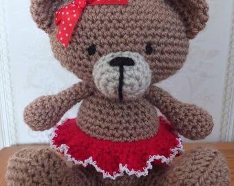 Tutu Teddy - Handmade Crochet Bear - amigurumi teddy bear with skirt and ribbon by Little Gems Crochet