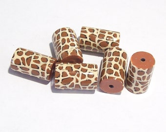 NOW ON SALE Leopard Tube Beads Handmade from Polymer Clay