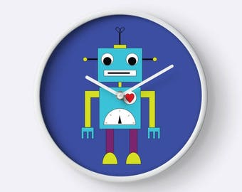 Blue robot wall clock, Kids wall clock, Boys wall clock, Robot clock, Robot bedroom, Blue wall clock, Robot nursery, Boys clock, Robots