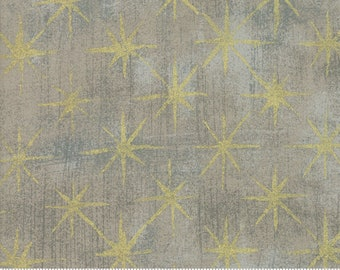 Grunge Seeing Stars Metallic Gray Couture - Basic Grey - 30148 47M - Metallic Stars - Moda Fabrics