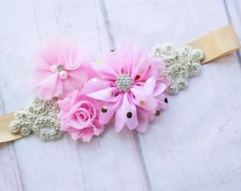 Junior Bridesmaid Sash, Bridal Sash, Maternity Sash, Bridal Belt, Flower Girl Sash, Pink Maternity Sash, Pink Gold Sash, Bridesmaid belt,