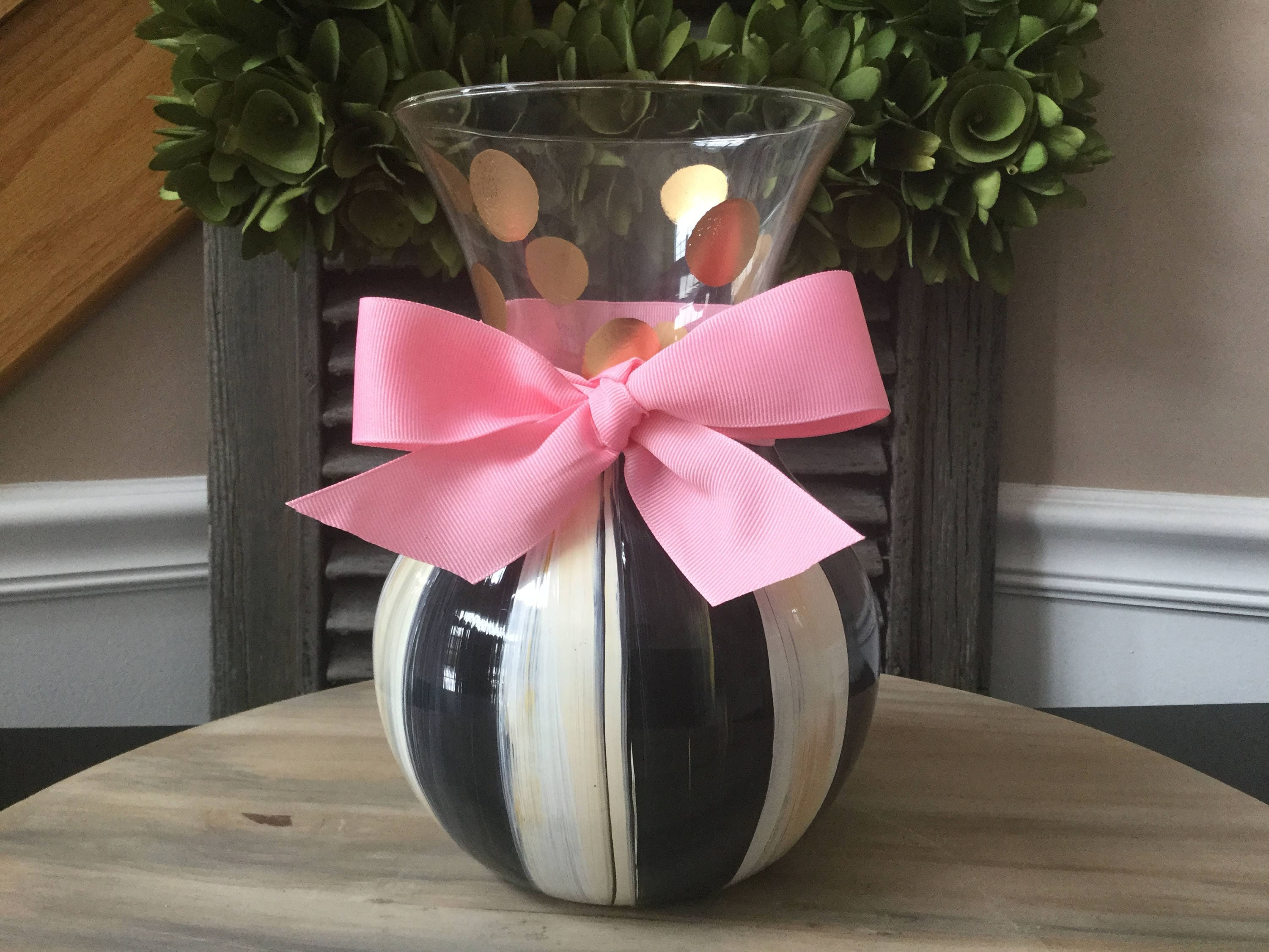 Hand painted glass vase with black and white stripe with bow