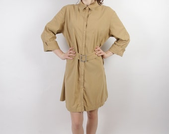 Caramel Brown Shirt Dress Button Up 3/4 Sleeve Belted Day Dress Large to Extra Large Size