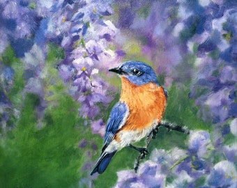 Among the Lilacs Bluebird, Fine Art Canvas Giclee, 8 x 10