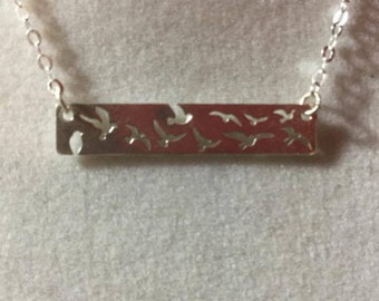 Sterling Silver Necklace 925 Birds Dainty #151016 One Of A Kind