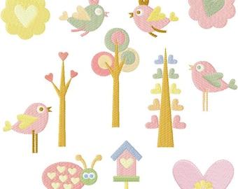 Instant Digital Download 4x4 Set of 16 Spring Birds n' Trees, Flowers n' bugs Machine Embroidery Designs