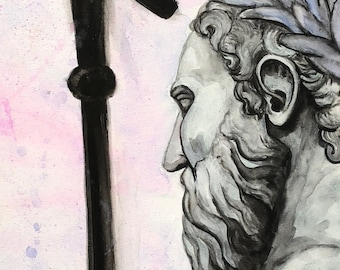 Poseidon watercolor canvas painting - Greek Mythology Art