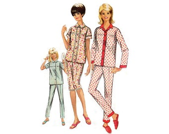 Misses Pajamas in two lengths - 1960s Complete Original Simplicity 6593 Pattern
