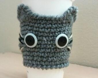 Crochet CAT Coffee Cup Cozy, Kitty Cup Warmer. GRAY