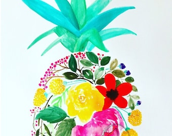 Floral pineapple watercolor