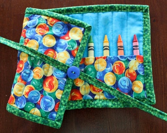 Marble Crayon Holder, Crayon Roll Up, Crayon Tote, Green, Blue, Crayon Roll, Gender Neutral, Art Supplies, Crafts, Quilted Crayon Holder