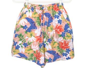 Retro Floral Shorts Vintage Floral Shorts Beach Shorts High Waisted Shorts Hipster Shorts Hippie Shorts Boho Shorts Surfer Shorts Size S