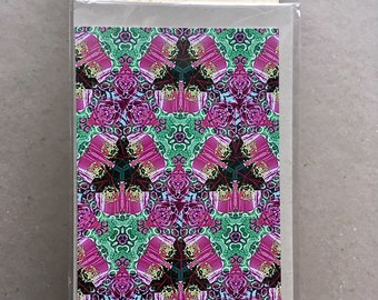 A6 Gift Card, Pink Kaleidescope, plain card with envelope