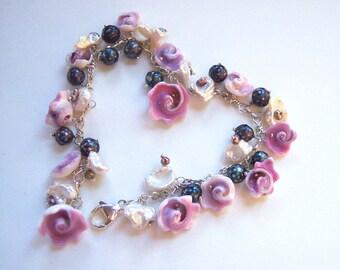 Flower Bracelet, Garden, Mother's Day, Romantic Gift for Her, Keshi Pearl Bracelet, Bluebells Silver Bracelet, June Birthday