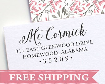 Return address stamp - personalized address stamp - wood or self inking handwritten address stamp - E47