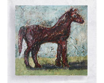 Horse Art  -  Red Pony Print - 5x5 Canvas Print on Art Block  - Whimsy At - Country Rustic Decor - Children's Room Art - Nursery Wall Art