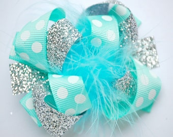 boutique ITSY-BITSY hip AQUA and silver hair bow clip