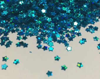 tiny blue color star confetti / sequins, 3 mm (45)M