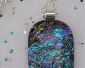 Dichroic necklace Fused Glass pendant with a rainbow appearance