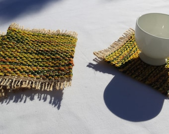 Mug Rugs, upcycled handwoven coasters, green, yellow, orange and beige drink coaster gift set