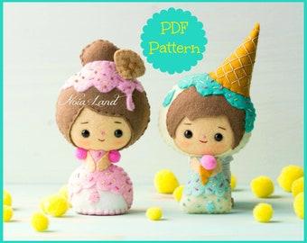 Ice cream dolls:  (PDF Pattern)