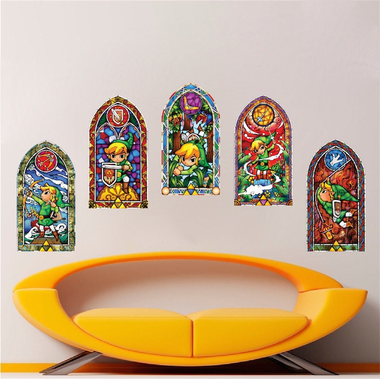 ?zoom  sc 1 st  Etsy & All 5 Zelda Stained Glass Wall Decal Sticker Video Games
