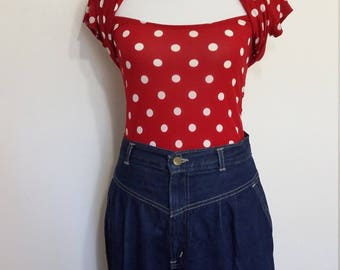 Fredericks of Hollywood, S, M, polka dot top, red top, 70's top, 80's top, 40's top, red polka dot top