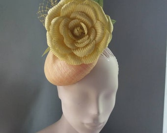 Yellow Rose Cocktail Hat Royal Ascot Wedding