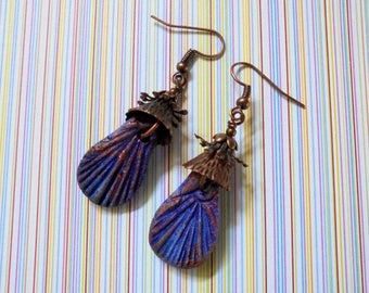Royal Blue and Copper Rustic Ethnic Boho Earrings (3618)