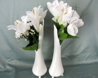 Elegant Smith White Milk Glass Vases, Set of Two