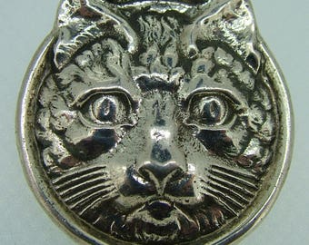 Large Sterling Kitty Cat Pin