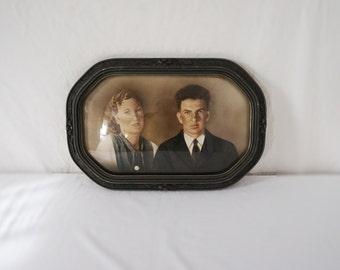 Vintage Antique Hand Colored Photograph / Bubble Glass / Gesso Frame