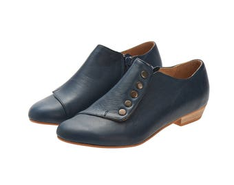 Flat navy blue shoes/ Grace/ leather shoes with a side zipper