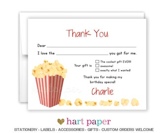 Popcorn Movie Party | Fill In the Blank Printed Thank You Cards Custom Flat Notecard Stationery Birthday Baby Shower Gift